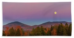 Vermont Fall, Full Moon And Belt Of Venus Beach Sheet