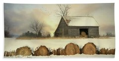 Vermont Hay Barn Beach Towel by Lori Deiter