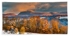 Vermont Snowliage Scene Beach Sheet by Tim Kirchoff