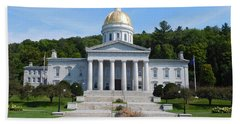 Vermont State House Beach Towel by Catherine Gagne