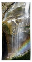 Vernal Falls Rainbow And Plants Beach Sheet by Amelia Racca