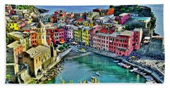 Vernazza Alight Beach Towel by Frozen in Time Fine Art Photography