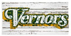 Vernors Beverage Company Recycled Michigan License Plate Art On Old White Barn Wood Beach Towel