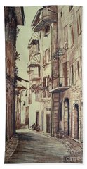Verona Drawing Of A Narrow Street Beach Towel by Maja Sokolowska