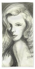 Beach Towel featuring the mixed media Veronica Lake by Denise Fulmer