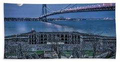 Beach Sheet featuring the photograph Verrazano Narrows Bridge Full Moon by Susan Candelario