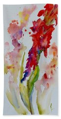 Beach Towel featuring the painting Vertical Red Bloom by Beverley Harper Tinsley