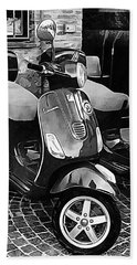 Vespa Twins Black And White Beach Towel