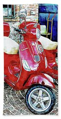 Vespa Twins Red Beach Towel