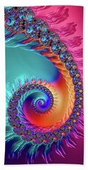 Vibrant And Colorful Fractal Spiral  Beach Towel