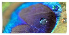 Vibrant Blue Water Drop And Feather Beach Towel