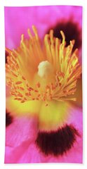Vibrant Cistus Heart. Beach Towel by Terence Davis