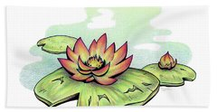 Vibrant Flower 2 Water Lily Beach Towel