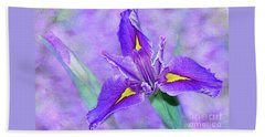 Beach Towel featuring the photograph Vibrant Iris On Purple Bokeh By Kaye Menner by Kaye Menner