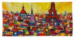Vibrant Paris Abstract Cityscape Impasto Modern Impressionist Palette Knife Oil Ana Maria Edulescu Beach Towel