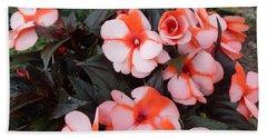 Plumerias Vibrant Pink Flowers Beach Towel