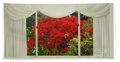 Beach Sheet featuring the photograph Vibrant Red Blossoms Window View By Kaye Menner by Kaye Menner