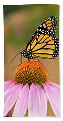 Monarch Butterfly On A Purple Coneflower Beach Towel