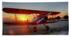 Vicky Benzings 1942 Boring Stearman At Livermore Beach Towel