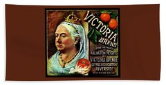 Beach Towel featuring the painting Victoria Brand Sunkist Oranges by Peter Gumaer Ogden