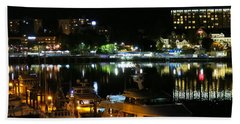 Victoria Inner Harbor At Night Beach Sheet