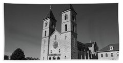 Beach Towel featuring the photograph Victoria, Kansas - Cathedral Of The Plains 6 Bw by Frank Romeo