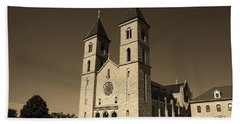 Beach Towel featuring the photograph Victoria, Kansas - Cathedral Of The Plains Sepia 6 by Frank Romeo