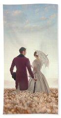 Victorian Couple Standing In A Meadow Beach Sheet by Lee Avison