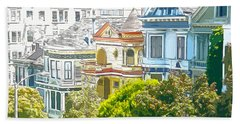 Victorian Painted Ladies Houses In San Francisco California Beach Sheet