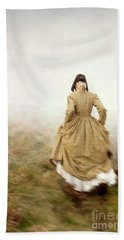 Victorian Woman Running On The Misty Moors Beach Towel