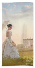 Victorian Woman With Parasol And Fan Beach Sheet by Lee Avison