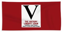 Beach Sheet featuring the mixed media Victory Liberty Loan Industrial Honor Emblem by War Is Hell Store