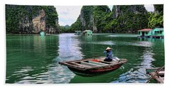 Vietnamese Woman Boat  Beach Sheet by Chuck Kuhn