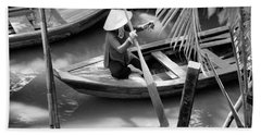 Vietnamese Woman Boat Ores Really For Tourist Mekong Delta  Beach Towel