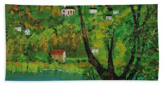 View Across The River Beach Towel by Mike Caitham