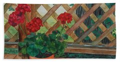 View From A Deck Beach Towel by Lynne Reichhart