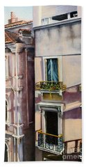 Beach Sheet featuring the painting View From A Venetian Window by Marlene Book