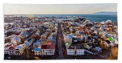 View From Hallgrimskirka Beach Towel by Wade Courtney