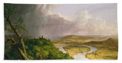 Beach Towel featuring the painting View From Mount Holyoke Northampton Massachusetts After A Thunderstorm. The Oxbow by Thomas Cole