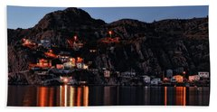View From The Harbor St Johns Newfoundland Canada At Dusk Beach Towel