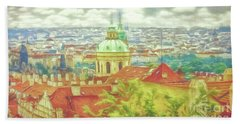 View From The High Ground - Prague  Beach Towel