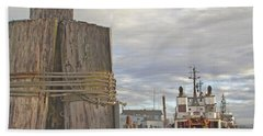 View From The Pilings Beach Towel by Suzy Piatt