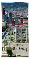 Beach Towel featuring the photograph View Of Barcelona From Montjuic by Eduardo Jose Accorinti