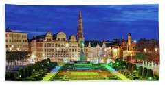 Beach Towel featuring the photograph View Of Brussels From Jardin Du Mont Des Arts by Barry O Carroll