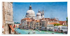 Beach Towel featuring the digital art View Of Canal Grande by Kai Saarto