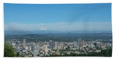 View Of Downtown Portland Oregon From Pittock Mansion Beach Towel