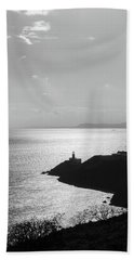 View Of Howth Head With The Baily Lighthouse In Black And White Beach Sheet by Semmick Photo