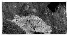 View Of Machu Picchu From The Inca Trail Beach Towel