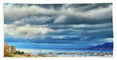 Beach Towel featuring the photograph View Of Messina Strait Sicily With Dramatic Sky by Silvia Ganora