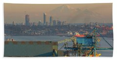 View Of Mount Baker And Vancouver Bc At Sunset Beach Towel